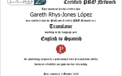 El fundador de RJ Languages, Gareth Rhys-Jones, traductor certificado ProZ