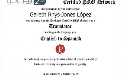 El fundador de RJ Languages, Gareth Rhys-Jones, traductor certificado ProZ